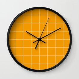 Graph Paper (White & Orange Pattern) Wall Clock