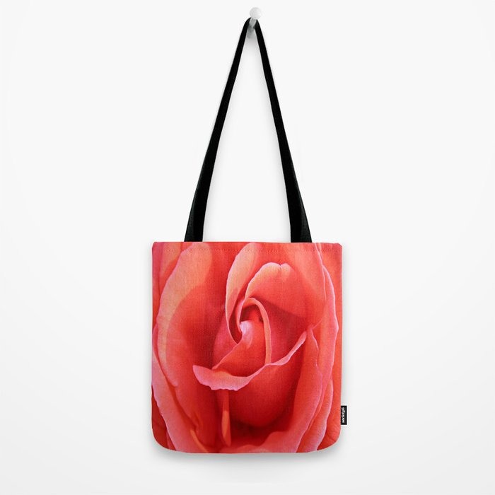 Salmon Floral Rose Abstract Tote Bag