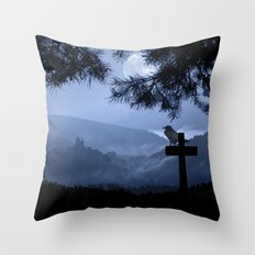 Castle in a foggy night Throw Pillow