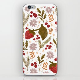 Happy Holidays Berries and Holly iPhone Skin