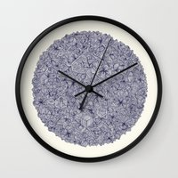 bedding Wall Clocks featuring Held Together - a pattern of navy blue doodles by micklyn
