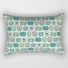 Vintage Alarm Clocks In Mint Green & Turquoise Rectangular Pillow