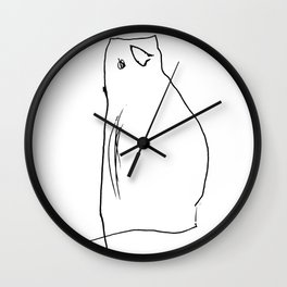 Cute Minimalist Hand Drawn Cat Wall Clock