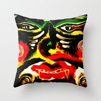inner demons Throw Pillows featuring Demons by Akinawa