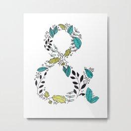 Botanical Ampersand Typographical Art Metal Print