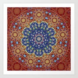 Woven Star in Blue and Red Art Print