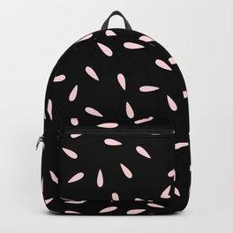 Pastel Pink Raindrops on Black Background Backpack