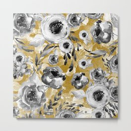 Black and white flowers with gold Metal Print