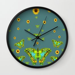 BLUE-GREEN-YELLOW PATTERNED MOTHS YELLOW SUNFLOWERS Wall Clock