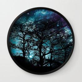 Black Trees Teal Violet space Wall Clock