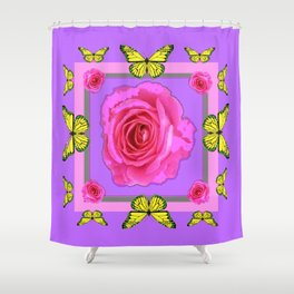 Lilac Art yellow Butterflies Rose Design Shower Curtain