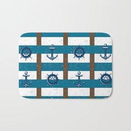 Retro Ocean and Sea Nautical Anchor brown Blue Bath Mat