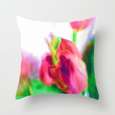 Harborough Tulips - Watercolour Paiting Throw Pillow
