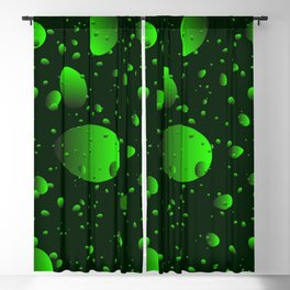 Large green drops and petals on a dark background in nacre. Blackout Curtain