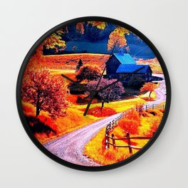 Farmhouse In Autumn Wall Clock