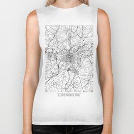 Luxembourg Map White Biker Tank