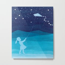 Girl with a kite, blue kids watercolor Metal Print