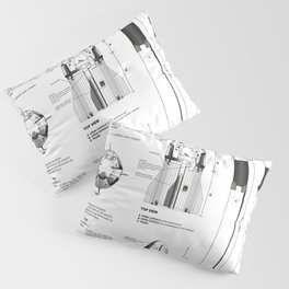 NASA SpaceX Crew Dragon Spacecraft & Falcon 9 Rocket Blueprint in High Resolution (white) Pillow Sham
