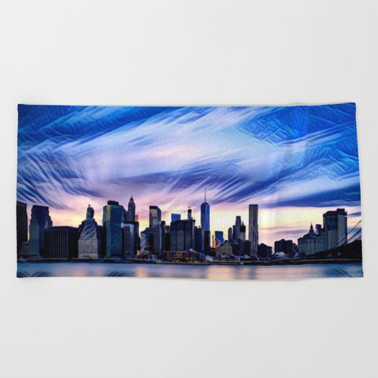Romantic City Cityscape with Light Sunset and River Beach Towel