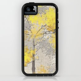 Abstract Yellow and Gray Trees iPhone Case