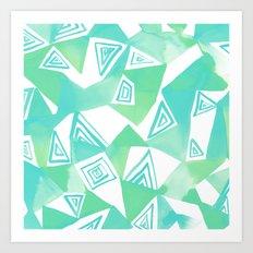 Geo Triangle Sea Green Art Print
