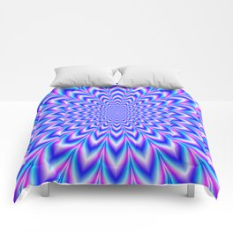 Psychedelic Pulse in Blue and Pink Comforters