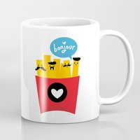 french fries Mugs featuring French Fries by Reg Silva / Wedgienet.net