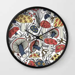 Hand-drawn mushrooms in muted blues, reds and yellows Wall Clock