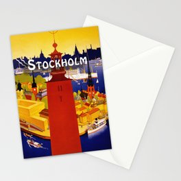 Vintage Stockholm Sweden Travel Stationery Cards