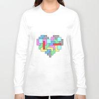 tetris Long Sleeve T-shirts featuring Tetris Heart by #dancingpenguin