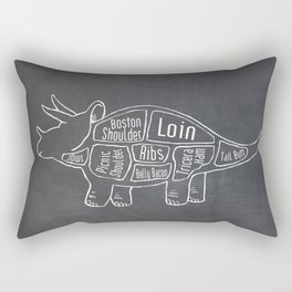 Triceratops Dinosaur (A.K.A Three Horn Face) Butcher Meat Diagram Rectangular Pillow