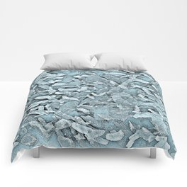Ocean Tips Silver Blue Abstract Comforters