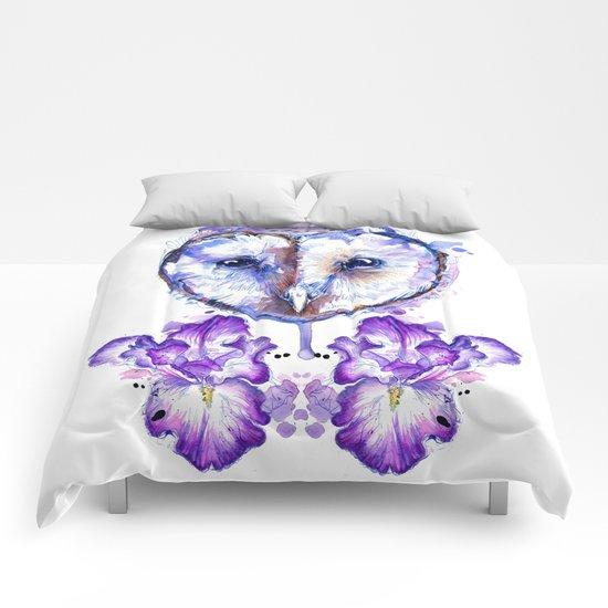 Owl and Irises Comforters
