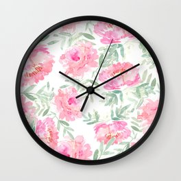 Watercolor Peonie with greenery Wall Clock