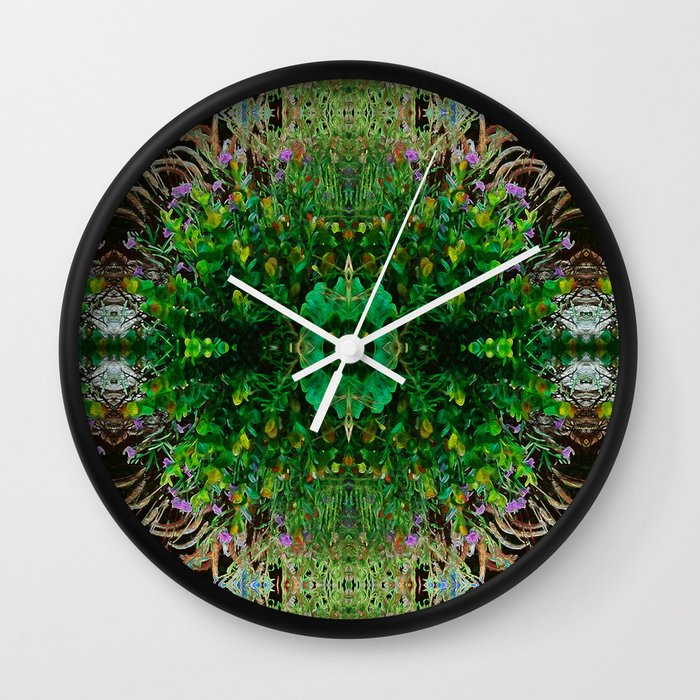 Cocoplum and Cattails op nature pattern Wall Clock