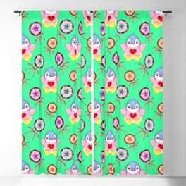 winter baby penguins, retro vintage colorful lollipops, sweet candy holiday green pattern. Nursery Blackout Curtain