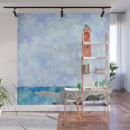 Watercolor Collage Lighthouse Wall Mural