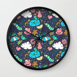 Hand draw autumn doodle pattern. Wall Clock