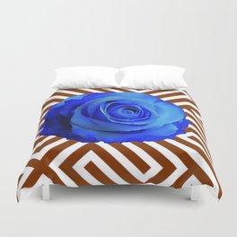 CONTEMPORARY  DECO  BLUE ROSE & BROWN ART Duvet Cover