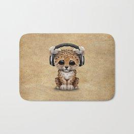 Cute Leopard Cub Dj Wearing Headphones Bath Mat