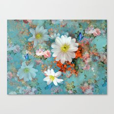 romantic flowers and butterflies Canvas Print