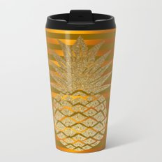GLITTER PINEAPPLE ON GOLD BROWN STRIPES Metal Travel Mug