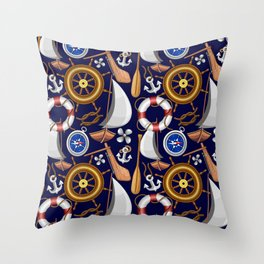 Nautical Marine and Navy Equipment Pattern Throw Pillow