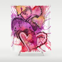 valentines Shower Curtains featuring Six Valentines by CSNSArt