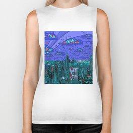 new york city panorama blue Biker Tank