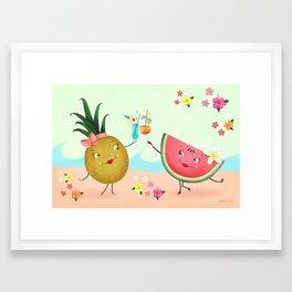 Pineapple And Watermelon Framed Art Print