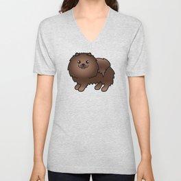 Brown Pomeranian Dog Cute Cartoon Illustration Unisex V-Neck