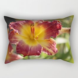 Eye of Lily Red & Gold Rectangular Pillow