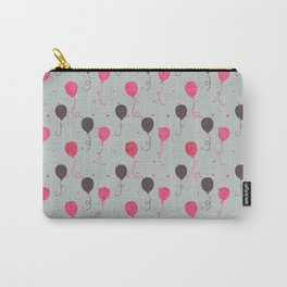 Neon pink brown gray polka dots balloons Carry-All Pouch