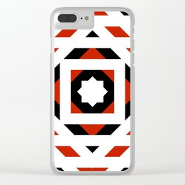 Black White Red Abstract Star Blossom Clear iPhone Case